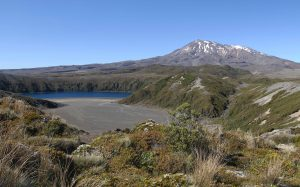 Mount Ruapehu with Lower Tama Lake in view.