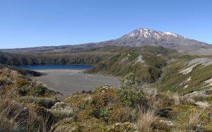 Mount Ruapehu with Lower Tama Lake in view.
