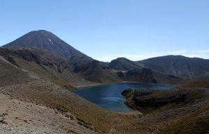 Upper Tama Lake with Mount Ngauruhoe in view.