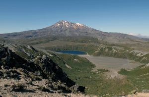 View of Mount Ruapehu and Lower Tama Lake, seen from Upper Tama Lake.