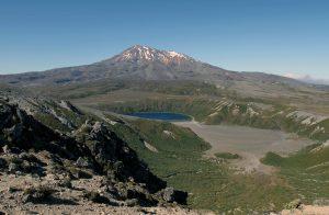 View of Mount Ruapehu and Lower Tama Lake, seen from Upper Tama Lake.