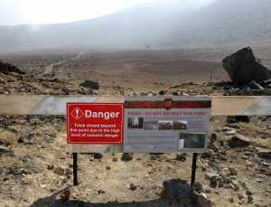The trail to Ketetahi Hut (not part of the Tongariro Northern Circuit) closed off due to increased volcanic activity and two volcanic eruptions that occurred in August and November of 2012.