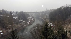 The Aare River and the Kornhausbrücke (bridge) in Bern.