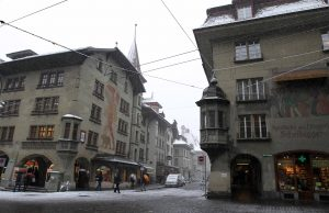 The intersection of Hotelgasse and Kramgasse, next to the Zytglogge.