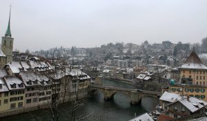 "The Untertorbrücke (""Lower Gate Bridge""); built in 1489 AD, it is the oldest of Bern's Aare bridges."