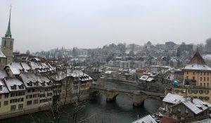 "The Untertorbrücke (""Lower Gate Bridge""); built in 1489 AD, it is the oldest of Bern's Aare bridges."