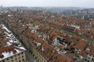 Looking toward the northwest from the Cathedral of Bern's bell tower.