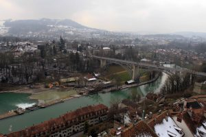 The Aare River and the Kirchenfeldbrücke, seen from the Cathedral of Bern's bell tower.