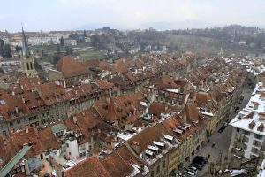 Looking east-northeast from the bell tower of the Cathedral of Bern.