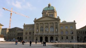 The façade of the Federal Palace of Switzerland - where the Swiss Federal Assembly (federal parliament) and the Federal Council are housed.