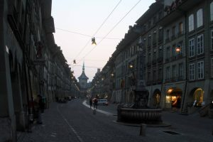The Kramgasse at dusk.