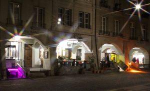Cellar doors opened for the underground night clubs on Gerechtigkeitsgasse in Bern.