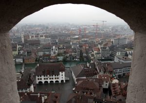 The Rathausplatz seen from Thun Castle.