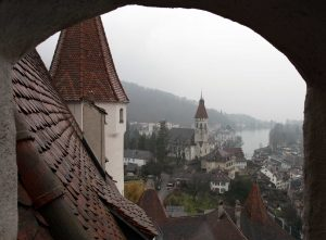 The Stadtkirche and Thun Castle's southeastern tower in view.