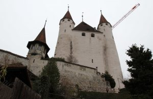 Looking up at Thun Castle.