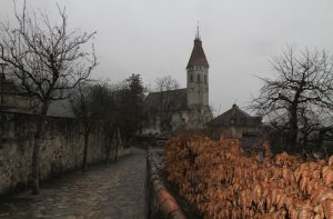 Cobbled path leading to the Stadtkirche of Thun.
