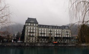 "The Thun Kunstmuseum (""Art Museum"") on the Aare River."