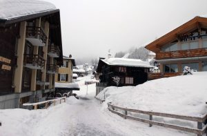 Street in Mürren, a village that is not connected with any roads and therefore has almost no traffic - snowplows and hotel shuttles are the exceptions.