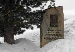 Memorial to Sir Arnold Lunn (a skier, mountaineer, and writer), who developed the rules for the modern slalom and set the first slalom here in Mürren in 1922 AD.