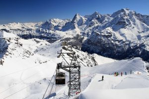 The cable car traveling up to Piz Gloria, skiers beginning their downhill run, and the Eiger, Mönch, and Jungfrau mountains (the three dominant peaks) in the distance.
