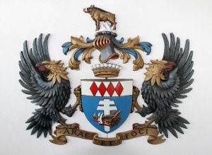 "Coat of Arms for the ""Comte Balthazar de Bleuchamp"" - the title that Ernst Stavro Blofeld had hoped to claim until James Bond foiled his plans . . . or so I'm told."