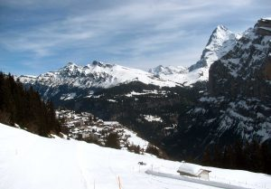 Mürren in view with the Eiger on the other side of the valley.