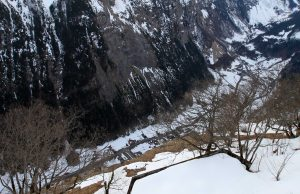Peering down at the Lauterbrunnen Valley.