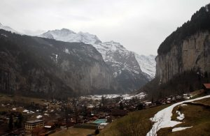 The valley and town of Lauterbrunnen, seen from the cable car descending down from Mürren.