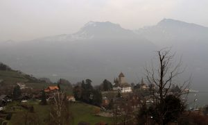 The town of Spiez, seen from the railway station.