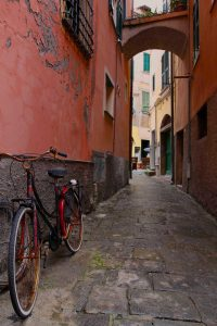 Bike parked in a street in Monterosso al Mare.