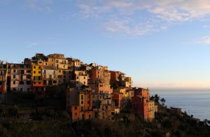Corniglia during sunset.