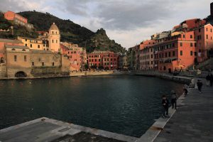 Children walking along the quay in Vernazza.