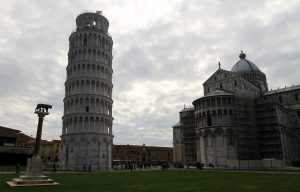 "The Leaning Tower of Pisa and the Cathedral at the Piazza del Duomo (also known as the ""Piazza dei Miracoli"" or ""Square of Miracles"")."