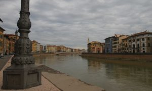 Another view of the Arno River with the Ponte Di Mezzo in view.