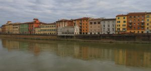 The Arno River with Santa Maria della Spina in view - the tiny church, which was erected in the 13th-century AD and supposedly has a thorn from the Crown of Thorns (which is where its name comes from).