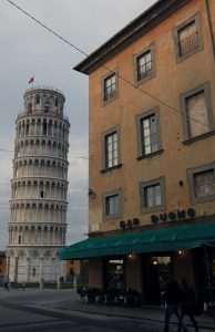 Bar Duomo and the Leaning Tower of Pisa.
