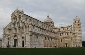 The Pisa Cathedral with the Leaning Tower of Pisa.