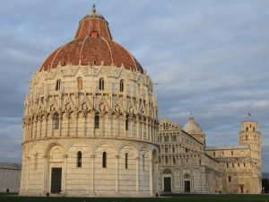 The Pisa Baptistry, Cathedral,and Tower all in view.