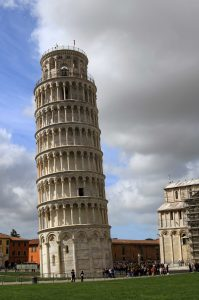 The Leaning Tower of Pisa in the Piazza del Duomo in the morning.