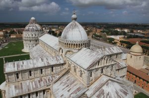 The Pisa Cathedral and Baptistry, seen from the Leaning Tower.