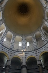 Looking up at the dome inside the Baptistry.