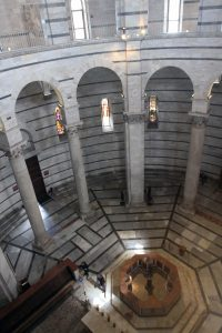 Looking down at the baptismal font from the second level inside the Baptistry.