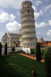 The Leaning Tower of Pisa seen from the second level of the Museo dell`Opera del Duomo.