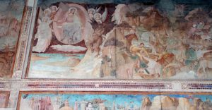 Detail of a fresco on the wall inside the Camposanto Monumentale.