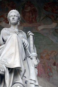 Statue inside the Camposanto Monumentale.