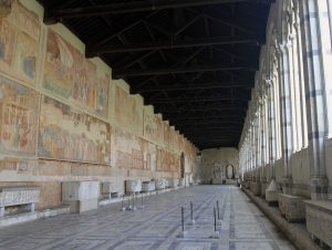 Hallway in the Camposanto Monumentale in the Piazza del Duomo in Pisa.