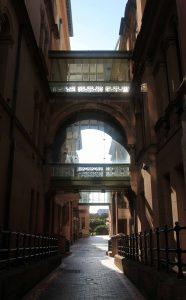 A narrow street through the Sydney Hospital compound.