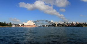 Another view of the Sydney Opera House and Harbour Bridge.