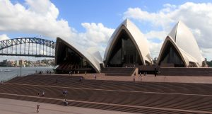 The southern end of the Sydney Opera House, seen from Bennelong Lawn in the Botanic Gardens.