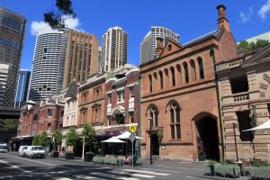 """Buildings along George Street, in the historic district of Sydney known as """"the Rocks."""""""